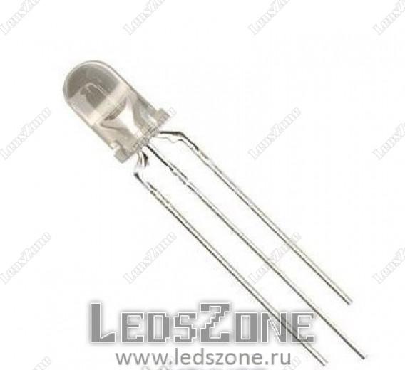 Светодиоды 5мм двухцветные 3 вывода (белая прозрачная линза)