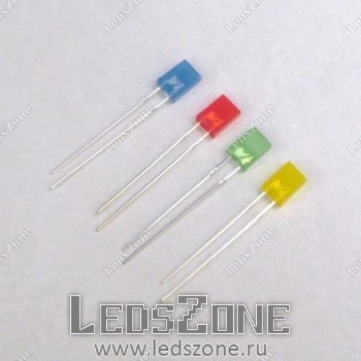 Светодиоды прямоугольные 2х5х7мм цветная линза