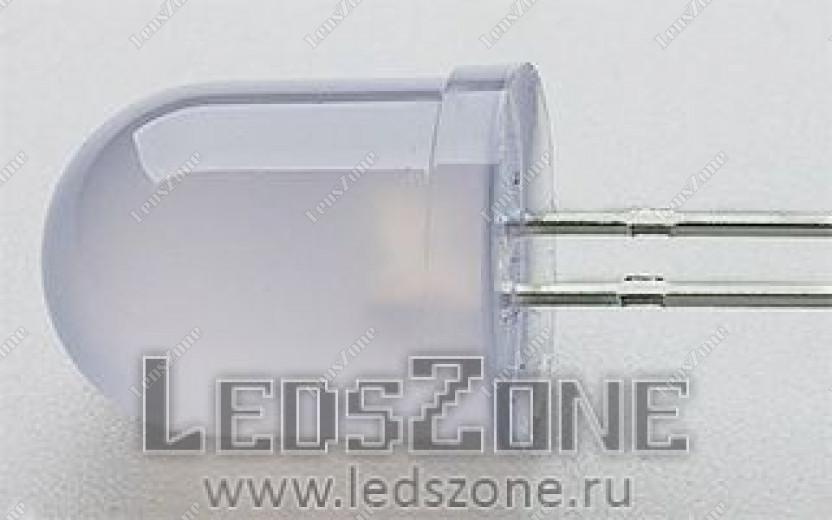 Светодиоды 10мм трехцветные быстро мигающие (белая матовая линза)