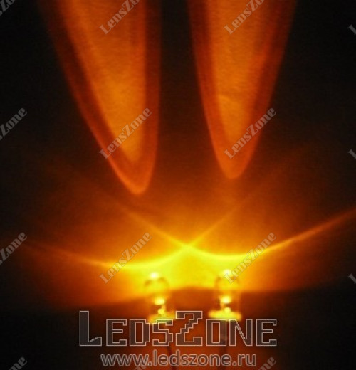 Светодиоды 8мм оранжевые (белая прозрачная линза)