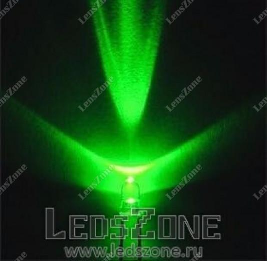 Светодиоды 3мм зеленые (белая прозрачная линза)