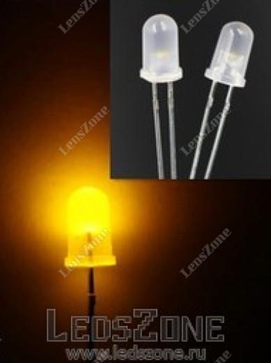 Светодиоды 5мм желтый (белая матовая линза)