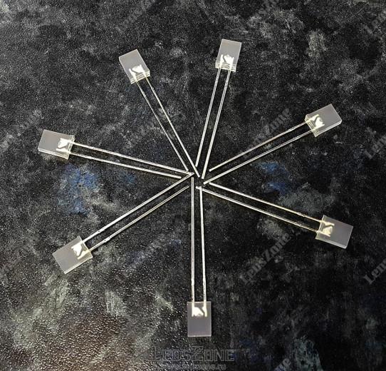 Светодиоды прямоугольные двухцветные 2х5х7мм белая матовая линза