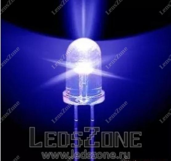 Светодиоды 5мм синие медленно мигающие (белая матовая линза)