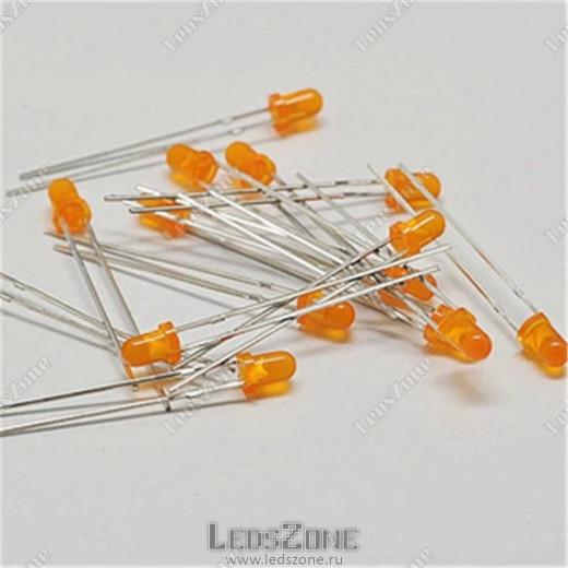 Светодиоды 3мм оранжевые (оранжевая матовая линза)