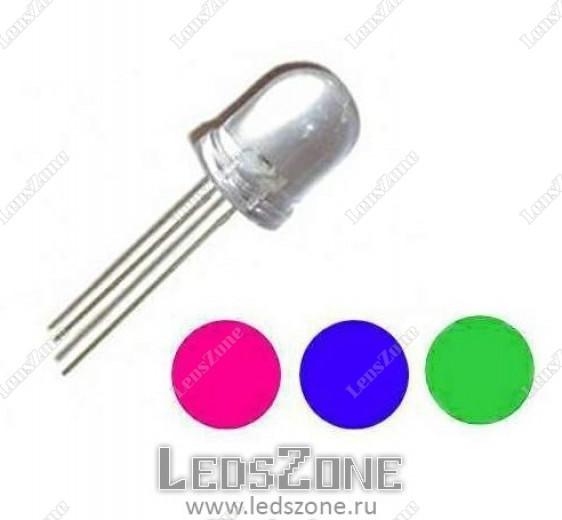 Светодиоды 8мм трехцветные 4 вывода (белая прозрачная линза)