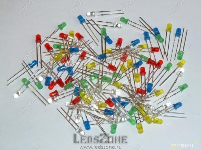 Светодиоды 3мм двухцветные мигающие (цветная линза)