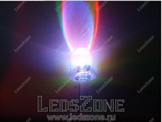 Светодиоды 10мм трехцветные медленно мигающие (белая прозрачная линза)