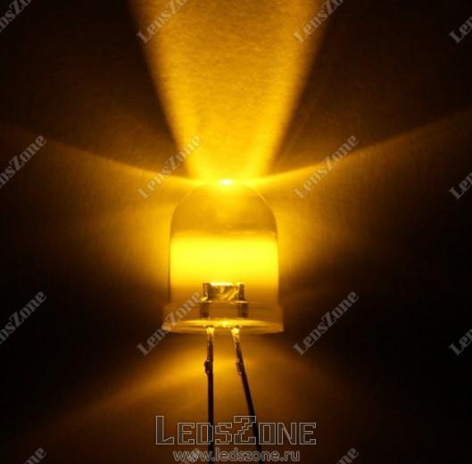 Светодиоды 10мм желтый (белая прозрачная линза)