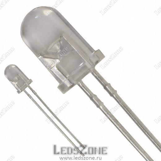 Светодиоды 5мм белая матовая линза 12v