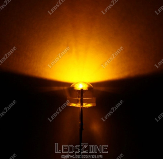 Светодиоды 5мм широкоугольные желтые (белая прозрачная линза)