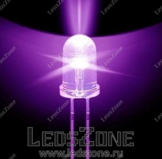 Светодиоды 5мм фиолетовые (белая прозрачная линза)