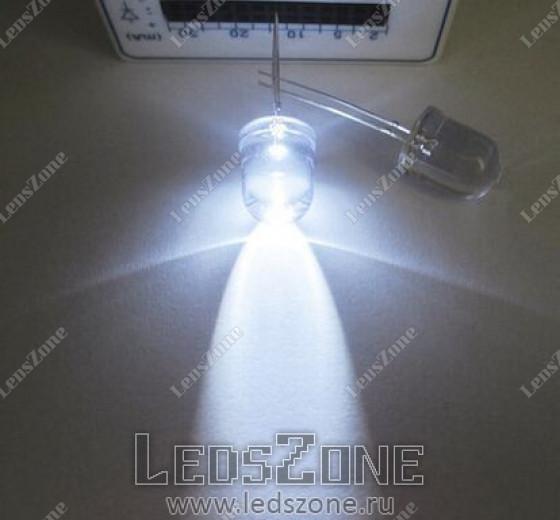 Светодиоды 10мм белые (белая прозрачная линза)