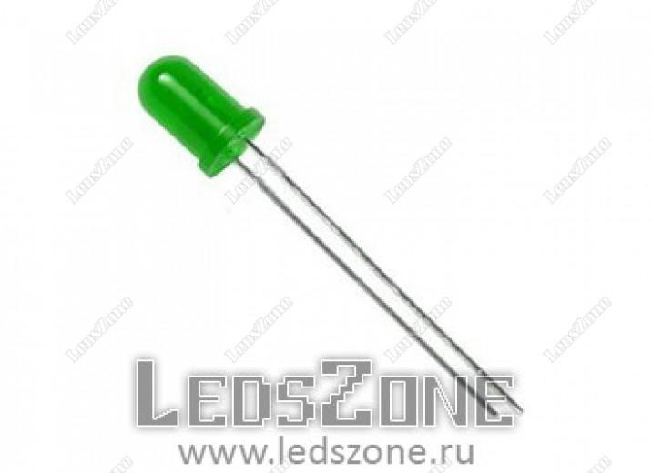 Светодиоды 5мм  зеленые (зеленая матовая линза)