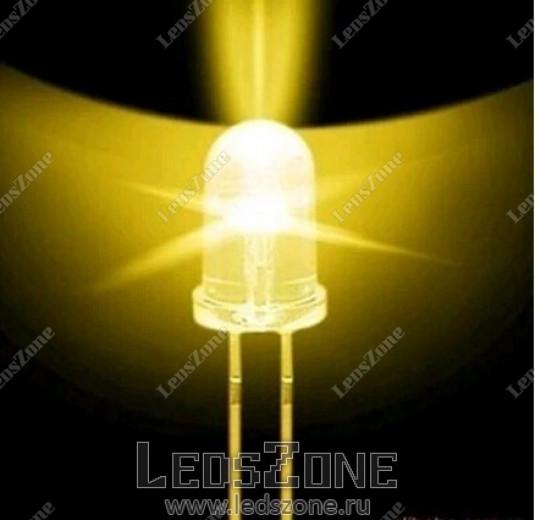 Светодиоды 3мм белые теплые (белая прозрачная линза)