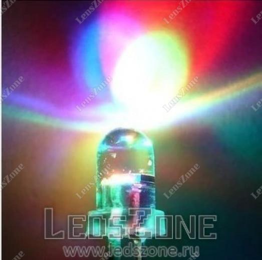 Светодиоды 5мм трехцветные медленно мигающие (белая прозрачная линза)