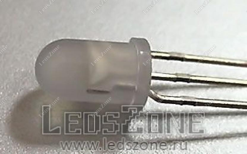 Светодиоды 5мм двухцветные 3 вывода (белая матовая линза)