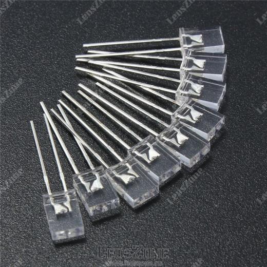 Светодиоды прямоугольные 2х5х7мм белая прозрачная линза